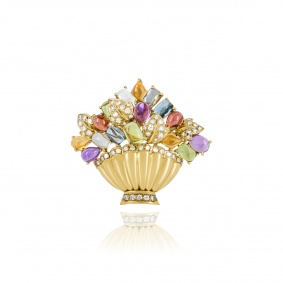 Yellow Gold Multi-Gem and Diamond Pendant/Brooch